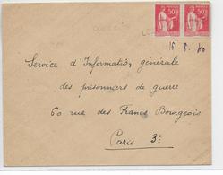 1940 - DEBACLE : EVACUATION MATERIEL POSTAL => CACHET LINEAIRE Sur ENVELOPPE De LOOS CITE (PAS DE CALAIS) - Marcophilie (Lettres)