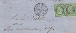 LETTRE SIGNÉE. 1 MARS 1859. N° 12 X 2. VERT-JAUNE. PARIS 6° DISTRIBUTION BUREAU A. EN VILLE. SANS CORRESPONDANCE - 1853-1860 Napoléon III
