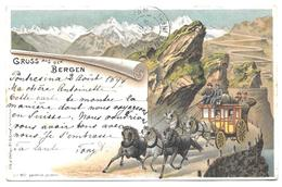 Suisse Schweiz Switzerland - Grüss Aus Den Bergen - Voyagé En 1898 - Attelage, Diligence - Autres
