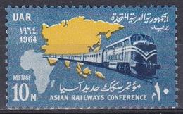 Ägypten Egypt 1964 Transport Eisenbahnen Railways Lokomotiven Trains Diesel Konferenz Conference Karten Maps, Mi. 740 ** - Ungebraucht