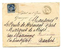 France, Type Sage Sur Lettre De Concarneau, Réexpédiée 1885 - 2 Scans - (B2053) - 1877-1920: Semi-moderne Periode