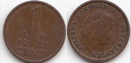 Olanda 1 Cent 1957 KM#180 - Used - [ 3] 1815-… : Regno Dei Paesi Bassi