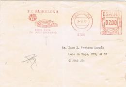 31126. Carta BARCELONA 1977. Franqueo Mecanico Estadio BARÇA, Barcelona Futbol. Viñeta, Label - 1931-Hoy: 2ª República - ... Juan Carlos I