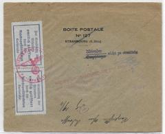 1940 -ALSACE - ENVELOPPE De STRASBOURG=>PFALZBURG (MOSELLE)=>RETOUR - OUVERTE Par La POSTE KARLSRUHE Pour RECHERCHE - Guerre De 1939-45