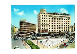 Cpm - Liban Lebanon Beirut Beyrouth Place Riad Solh Théâtre Affiche Cinéma Autobus Voiture AIR FRANCE BUTAGAZ Arab Bank - Líbano