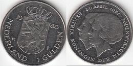 Olanda 1 Gulden 1980 Dubbele Kop Inv.of New Queen KM#200 - Used - [ 3] 1815-… : Regno Dei Paesi Bassi