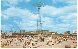 POSTAL    CONEY ISLAND  -NEW YORK  - PARACHUTE JUMP AT CONEY ISLAND AS SEEN FROM THE BEACH (SALTO EN PARACAIDAS) - NY - New York