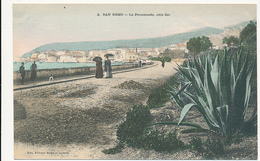 2, SAN REMO - La Promenade, Cote Est, - Edit. ETTORE BORA, CIRCA 1900, PEOPLE AND PLANTS - San Remo