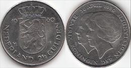 Olanda 2½ Gulden 1980 Dubbele Kop-Inv.of New Queen KM#201 - Used - 1980-… : Beatrix