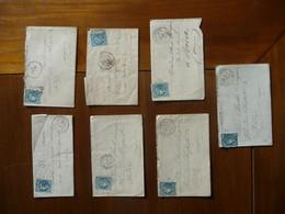 2 LETTRES MANUSCRITES TIMBREES (Céres Bleu 20 Cts NON DENTELES) + 5 ENVELOPPES TIMBREES (idem) - 1849-1850 Cérès
