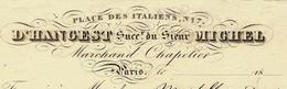 1829 PARIS Place Des Italiens D'HANGEST Succ. Du Sieur MICHEL MARCHAND CHAPELIER B.E.VOIR SCANS - France
