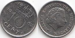 Olanda 10 Cents 1969 Dubbeltje KM#182 - Used - [ 3] 1815-… : Regno Dei Paesi Bassi