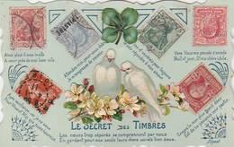 """CPA: """"LE SECRET DES TIMBRES"""" CHROMO ET TIMBRES COLLÉS - Stamps (pictures)"""