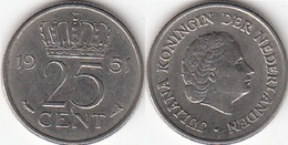 Olanda 25 Cents 1951 Kwartje KM#183 - Used - [ 3] 1815-… : Regno Dei Paesi Bassi