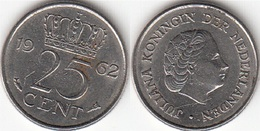Olanda 25 Cents 1962 Kwartje KM#183 - Used - [ 3] 1815-… : Regno Dei Paesi Bassi