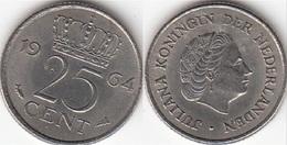Olanda 25 Cents 1964 Kwartje KM#183 - Used - [ 3] 1815-… : Regno Dei Paesi Bassi