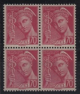 FR 1004 - FRANCE N° 416 + 416a Mercure En Bloc De 4 Neuf** Avec 2 Variétés Se Tenant - Variétés Et Curiosités