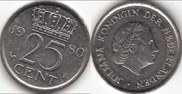 Olanda 25 Cents 1980 Kwartje KM#183 - Used - [ 3] 1815-… : Regno Dei Paesi Bassi