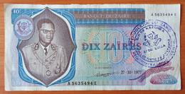 Zaire 10 Zaires 1977 Ink Stamp (2) - Zaïre