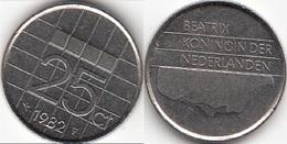 Olanda 25 Cents 1982 Kwartje KM#204 - Used - [ 3] 1815-… : Regno Dei Paesi Bassi