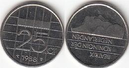 Olanda 25 Cents 1988 Kwartje KM#204 - Used - [ 3] 1815-… : Regno Dei Paesi Bassi