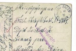 """Cachet Peu Lisible """"Dépôt De Prisonniers De Guerre - Fort De Sennecey (21)"""" Circ 1916 Sur CP Pour Prisonnier Allemand - Marcophilie (Lettres)"""