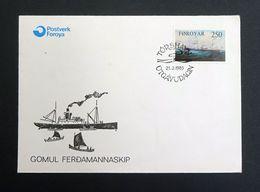 Faroe Islands/Føroyar 1983 250 Ore Yt.74/SG79 First Day Cover (FDC) Gomul Ferdamannaskip Cargo Ship. - Faeroër