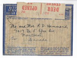 1943 - SOUTH AFRICA - ENVELOPPE AEROGRAMME MILITAIRE Avec CENSURE De TRANSVAAL => MONTREAL (CANADA) - Briefe U. Dokumente