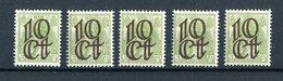 Nederland 1923, 5 Zegels Met Opdruk 10c Op 3c Lichtgroen, Postfris - 1891-1948 (Wilhelmine)