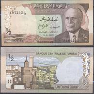 Tunisia 1/2 Dinar 1972 AUNC - Tunisie