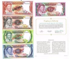 Swaziland 1-20 Emalangeni 1974 Set Of Specimens CS1 - Swaziland