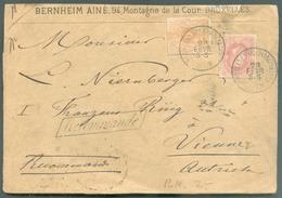 N°28-34 Obl. Sc BRUXELLES (R. CHANCELLERIE) Sur Devant En Recommandé Le 22 Février 1878 Vers Vienne (Autriche) - 13643 - 1869-1883 Léopold II