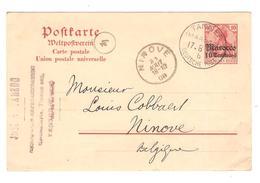 PR6141/ Ganz.CP Marocco 10 C.c.Tanger Deutsche Post 1908 José Laredo V.Belgien Ninove Arrival Cancellation - Bureau: Maroc