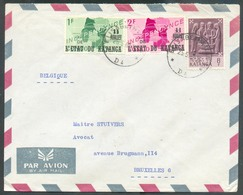 1Fr Et 2Fr. Indépendance + 8Fr. M. Obl. Sc ELISABETHVILLE Sur Lettre Par Avion Du 25-5-1962 Vers Bruxelles - 13648 - Katanga