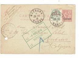 PR6142/ Maroc Entier CP 5 C + TP 5 C.c.Mazagan 1910 V.Belgique Verviers Demande Correspondance C.d'arrivée - Morocco (1891-1956)