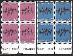 SUISSE    -   1972.    Y&T N° 899 / 900 ** En Blocs De 4.   EUROPA - Suisse