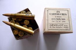 BOITE DE 25 CARTOUCHES DE 7,5 MM MLE 1929 GÉVELOT À BLANC - Armes Neutralisées