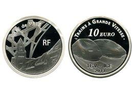 """Cote 80 € Au Leuchtturm 2019 Pièce MDP 10 € Argent 99,9% Belle Epreuve """"TGV METZ 2011"""" + Coffret+ Certificat - France"""