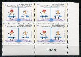 RC 11198 FRANCE 2013 SERVICE N° 156 CONSEIL DE L'EUROPE BLOC DE 4 COIN DATÉ NEUF ** - Officials
