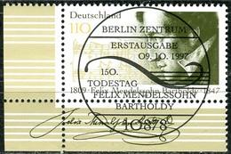 A13-01-7) BRD - Mi 1953 ECKE LIU -  Zentrisch OO Gestempelt  (B) - 110Pf               Felix Mendelssohn Bartholdy - Usados