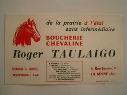 BUVARD Ancien : PUBLICITE BOUCHERIE CHEVALINE TAULAIGO / LA SEYNE / VAR - Produits Pharmaceutiques