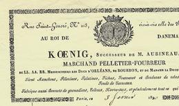 PARIS 1820 Rue Saint Honoré AU ROI DE DANEMARK KOENIG Successeur De M.AUBINEAU Marchand Pelletier Fourreur B.E.V. SCANS - France