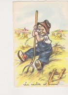 26587 Germaine Bouret -recolte Est Bonne -dessin Paysan Enfant Foin Fourche -MD Paris 605 - Peintures & Tableaux