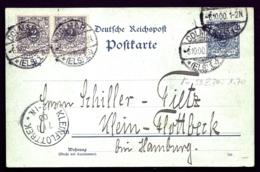 ENTIER POSTAL ALLEMAGNE 2 Pf BLEU + PAIRE TIMBRES 2 Pf. GRIS- POSTKARTE EMPIRE- CAD DOLMAR 1900- - Deutschland