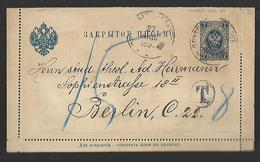 Russie Entier Postal Sur Carte Lettre Taxée   DU 27  JUIN 1898 - Storia Postale