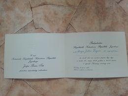 1972 SFRJ YUGOSLAVIA PRESIDENT JOSIP BROZ TITO INVITATION CARD FEDERAL COUNCIL NATIONAL DAY RECEPTION - Announcements