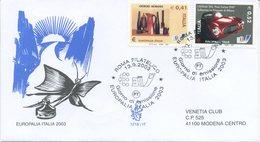 ITALIA - FDC  VENETIA 2003 - EUROPALIA - MORANDI - PININ FARINA - ANNULLO SPECIALE - VIAGGIATA - 6. 1946-.. Repubblica