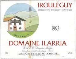 ETIQUETTE De VIN-Appelation IROULEGUY DOMAINE ILARRIA 1993 - Vignoble   ETAT = Bien Visible Sur Scan Voir Description - Red Wines