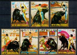 1975    CORRIDA    SET X 7 STAMPS      MNH** - Guinea Equatoriale