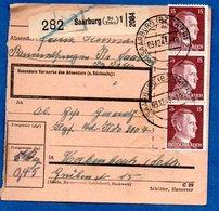 Colis Postal  -  Départ Saarburg ( Trier )  --  03/12/1943 - Covers & Documents
